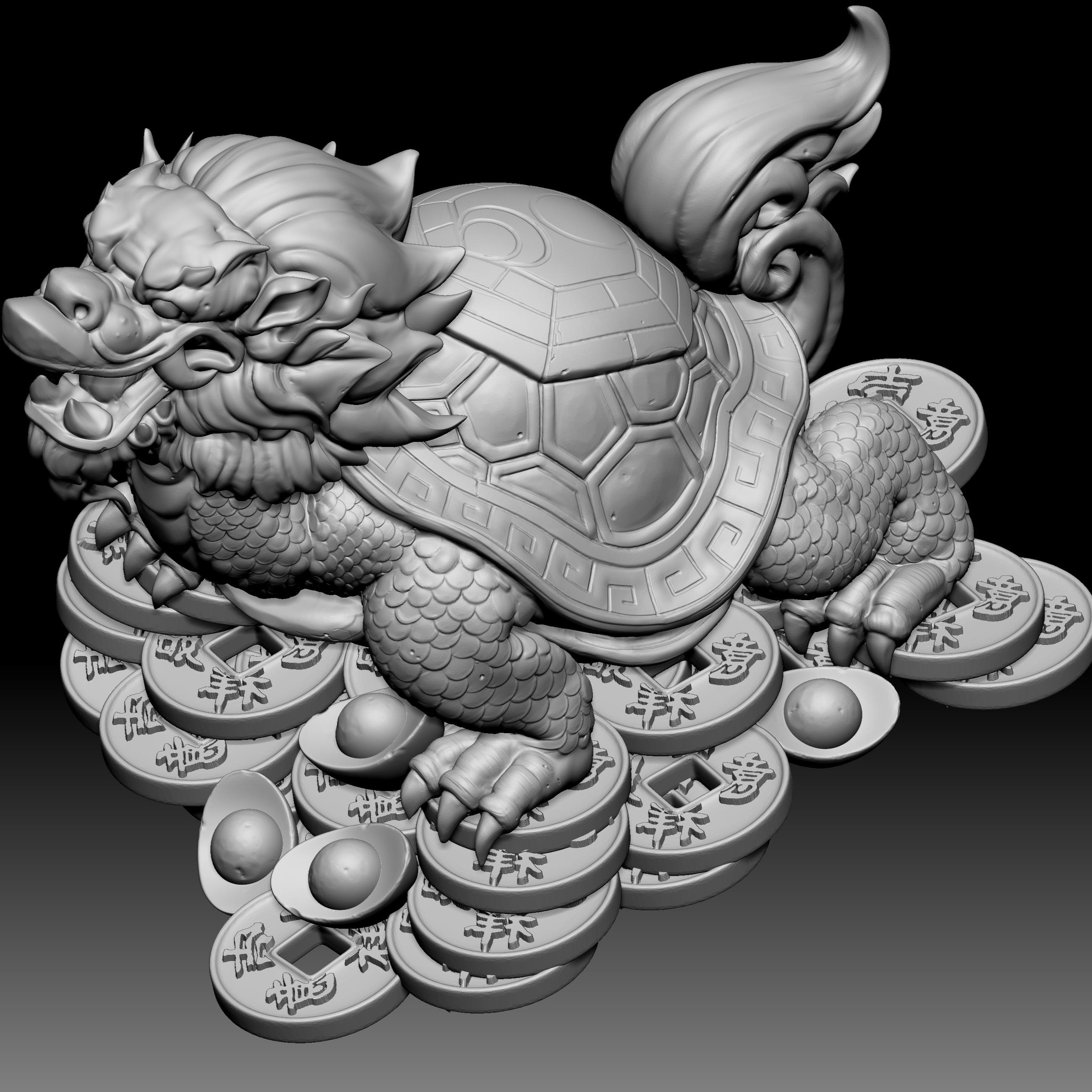 龙龟铜钱雕塑模型