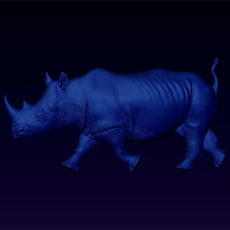 3D模型-黑犀牛浮雕
