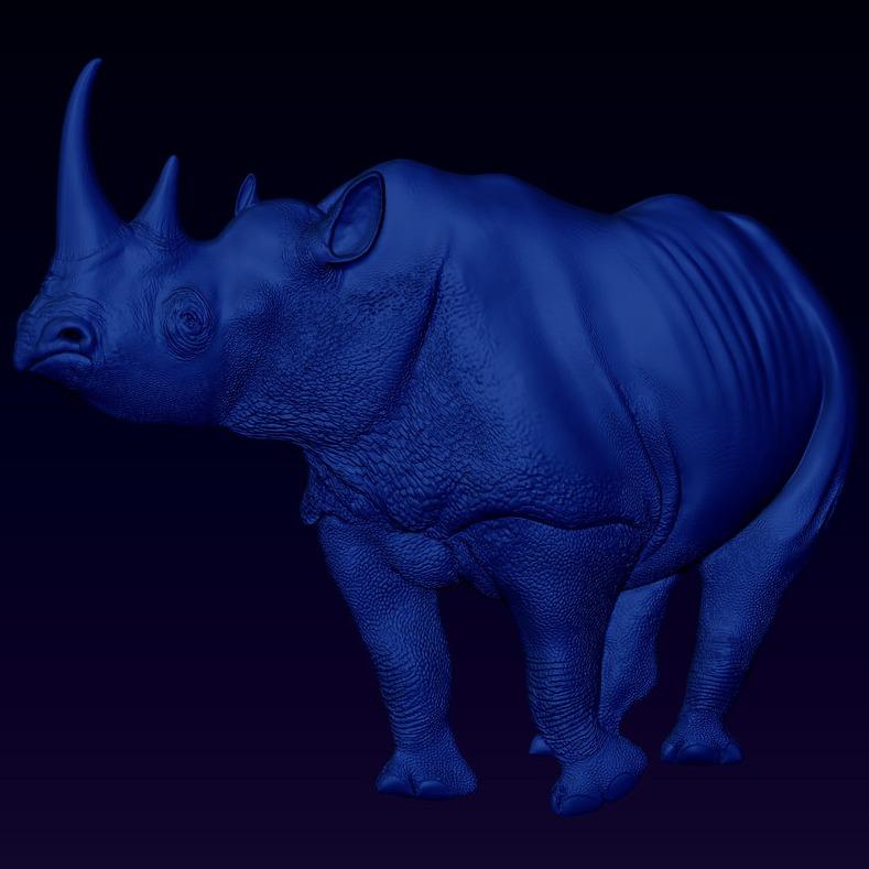 3D模型-黑色犀牛凝视浮雕