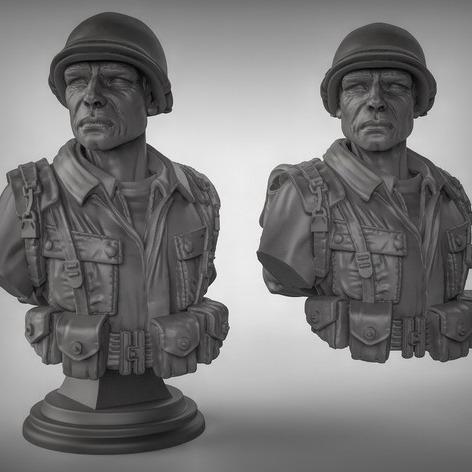 3D模型-士兵半身像兵人3D打印 模型