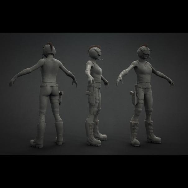3D模型-女飞行员