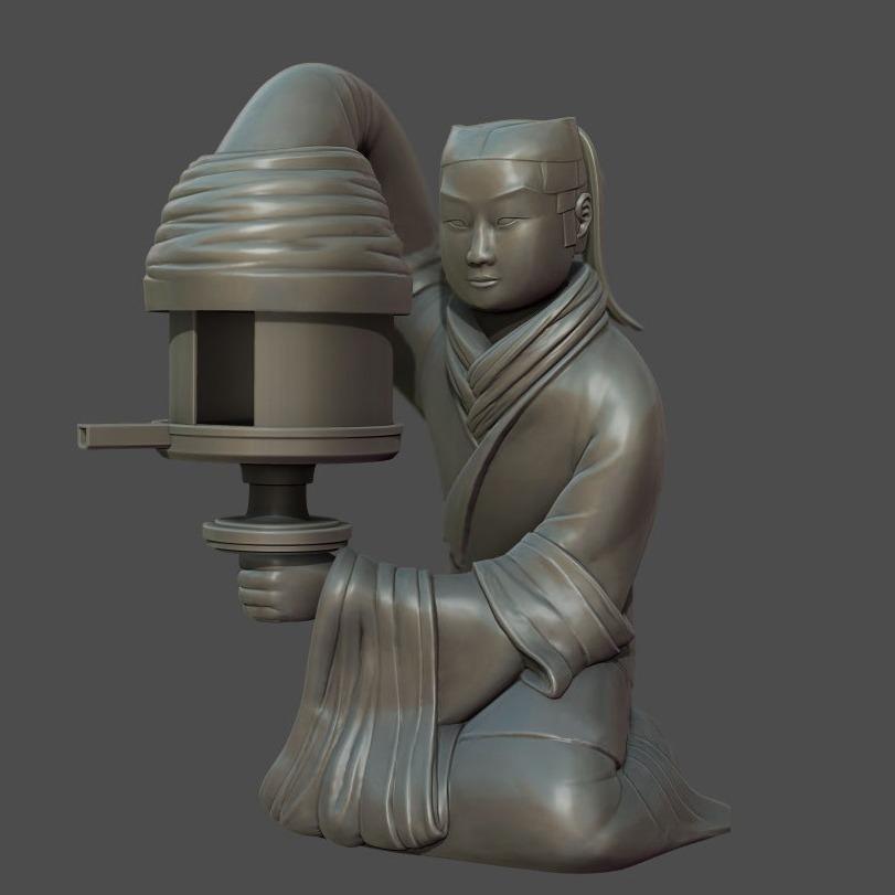 长信宫灯(西汉)高清3D打印模型-3D打印