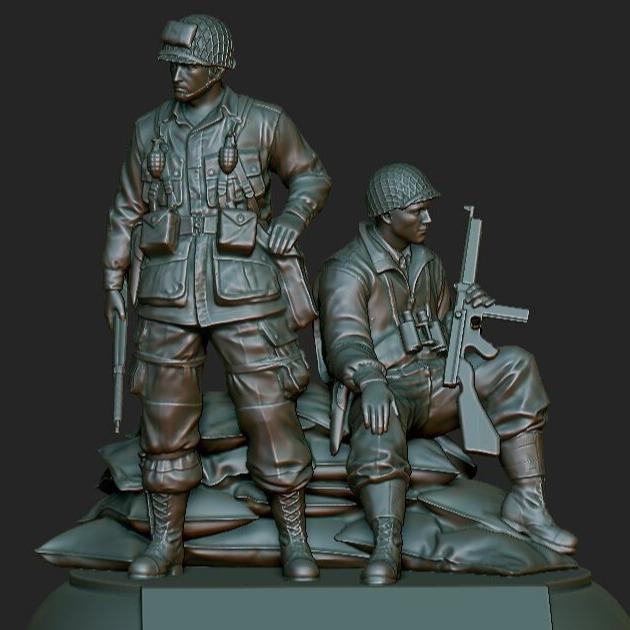 3D模型-二战士兵雕塑模型