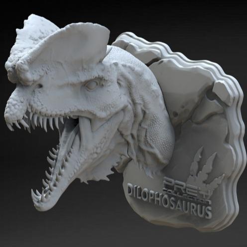 3D模型-恐龙头装饰摆件 手办级3D打印模型