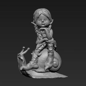 坐蜗牛上的小女孩2